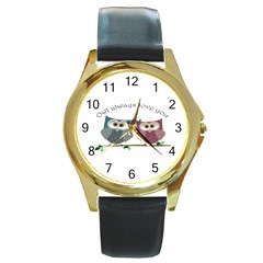 Owl always love you, cute Owls Black Leather Gold Rim Watch (Round)