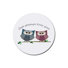 Owl Always Love You, Cute Owls Rubber Drinks Coaster (round)