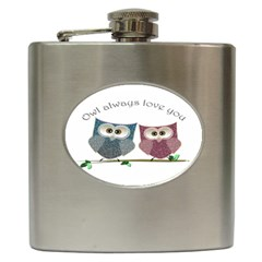 Owl always love you, cute Owls Hip Flask