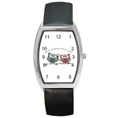Owl always love you, cute Owls Black Leather Watch (Tonneau)