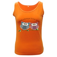 Owl always love you, cute Owls Dark Colored Womens'' Tank Top