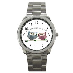 Owl always love you, cute Owls Stainless Steel Sports Watch (Round)