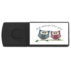 Owl always love you, cute Owls 4Gb USB Flash Drive (Rectangle)