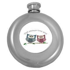 Owl always love you, cute Owls Hip Flask (Round)