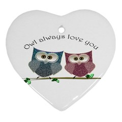 Owl Always Love You, Cute Owls Heart Ornament (two Sides)