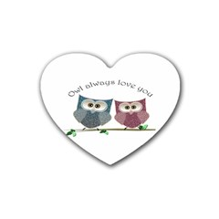 Owl always love you, cute Owls Rubber Drinks Coaster (Heart)