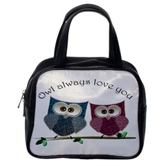 Owl Always Love You, Cute Owls Single Sided Satchel Handbag
