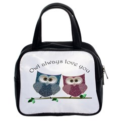 Owl Always Love You, Cute Owls Twin Sided Satchel Handbag