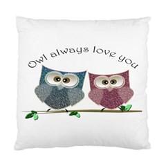 Owl Always Love You, Cute Owls Twin Sided Cushion Case