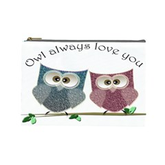 Owl Always Love You, Cute Owls Large Makeup Purse