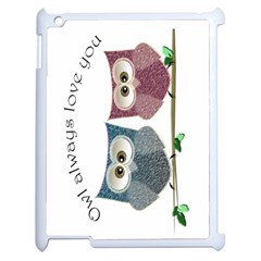 Owl always love you, cute Owls Apple iPad 2 Case (White)