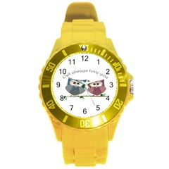 Owl always love you, cute Owls Round Plastic Sport Watch Large