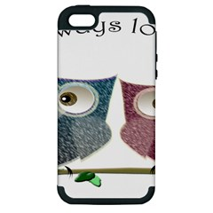 Owl always love you, cute Owls Apple iPhone 5 Hardshell Case (PC+Silicone)