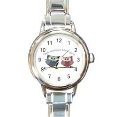 Owl Always Love You, Cute Owls Classic Elegant Ladies Watch (round)