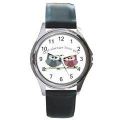 Owl always love you, cute Owls Black Leather Watch (Round)