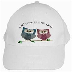 Owl Always Love You, Cute Owls White Baseball Cap