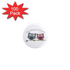 Owl Always Love You, Cute Owls 100 Pack Mini Magnet (round)