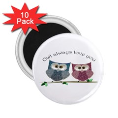 Owl Always Love You, Cute Owls 10 Pack Regular Magnet (round)