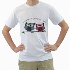 Owl Always Love You, Cute Owls White Mens  T Shirt