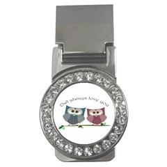 Owl always love you, cute Owls Money Clip with Gemstones (Round)