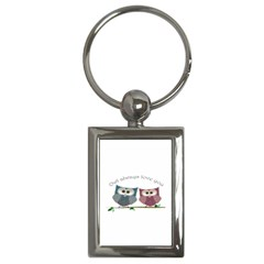 Owl always love you, cute Owls Key Chain (Rectangle)