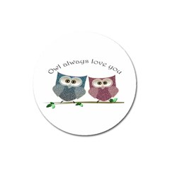 Owl always love you, cute Owls Large Sticker Magnet (Round)