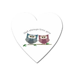 Owl always love you, cute Owls Large Sticker Magnet (Heart)
