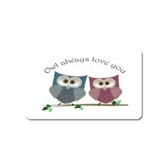 Owl always love you, cute Owls Name Card Sticker Magnet