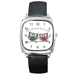 Owl Always Love You, Cute Owls Black Leather Watch (square)