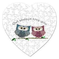 Owl Always Love You, Cute Owls Jigsaw Puzzle (heart)