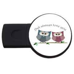 Owl always love you, cute Owls 4Gb USB Flash Drive (Round)