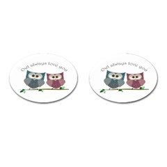 Owl always love you, cute Owls Oval Cuff Links