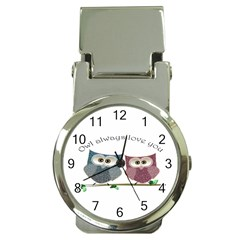 Owl Always Love You, Cute Owls Chrome Money Clip With Watch