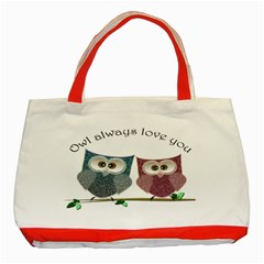 Owl always love you, cute Owls Red Tote Bag