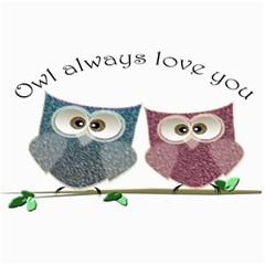 Owl always love you, cute Owls 12  x 18  Unframed Canvas Print