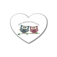 Owl always love you, cute Owls 4 Pack Rubber Drinks Coaster (Heart)