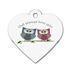 Owl always love you, cute Owls Single-sided Dog Tag (Heart)