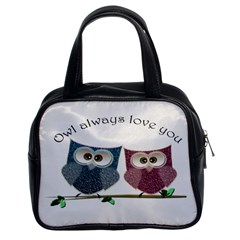 Owl always love you, cute Owls Twin-sided Satchel Handbag