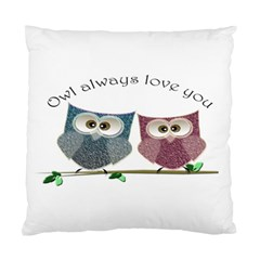 Owl Always Love You, Cute Owls Twin Sided Cushion Case
