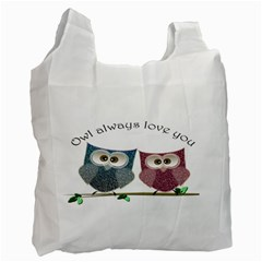 Owl always love you, cute Owls Single-sided Reusable Shopping Bag