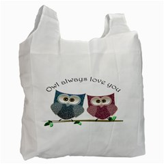Owl always love you, cute Owls Twin-sided Reusable Shopping Bag