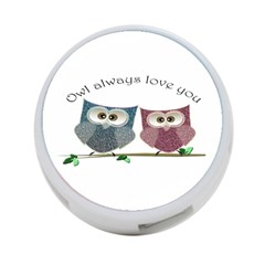 Owl always love you, cute Owls Twin-sided 4 Port USB Hub (Round)