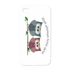 Owl Always Love You, Cute Owls White Apple Iphone 4 Case