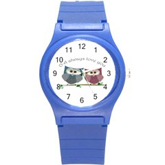 Owl always love you, cute Owls Round Plastic Sport Watch Small