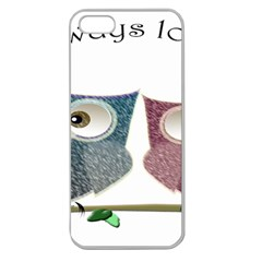 Owl always love you, cute Owls Apple Seamless iPhone 5 Case (Clear)