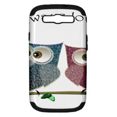 Owl always love you, cute Owls Samsung Galaxy S III Hardshell Case (PC+Silicone)