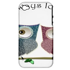 Owl always love you, cute Owls Apple iPhone 4/4S Hardshell Case (PC+Silicone)
