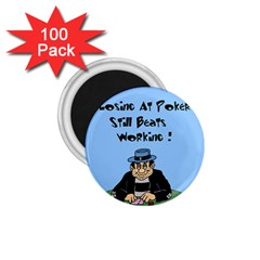 Losing At Poker - Poker Chips 100 Pack Small Magnet (Round)