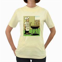 Stop Me Before I Grill Again Yellow Womens  T-shirt