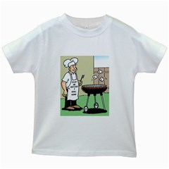 Stop Me Before I Grill Again White Kids'' T-shirt